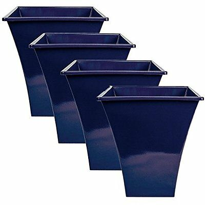 4 x BLUE Large Plant Pots Planters Indoor Outdoor Garden Tall Plastic Planter