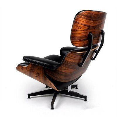 Eames Style Chair and Ottoman Lounge Italian Aniline Leather Palisander  on Rummage
