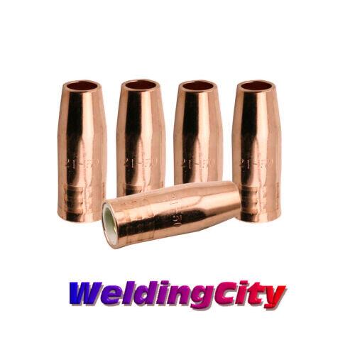 """WeldingCity 5-pk MIG Welding Gun Nozzle 21-50 1/2"""" for Lincoln 100L Tweco Mini/1"""