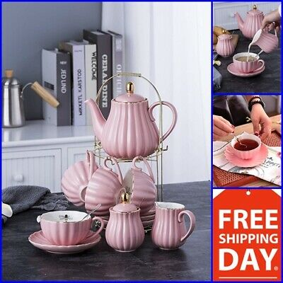 Porcelain Tea Sets (Vintage Tea Set Porcelain Tea Cup Coffee Saucers Set 17 Pc High Quality Pink)