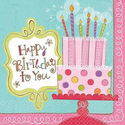 HAPPY BIRTHDAY Sweet Stuff SMALL NAPKINS (16) ~ Party Supplies Beverage - Birthday Stuff