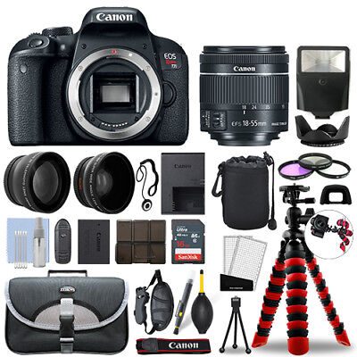 как выглядит Фотоаппарат Canon Rebel T7i DSLR Camera with 18-55mm STM+ 16GB 3 Lens Ultimate Accessory Kit фото