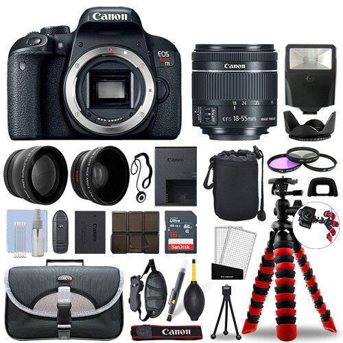 Canon Rebel T7i Dslr Camera With 18-55mm Stm+ 16gb 3 Lens Ultimate Accessory Kit