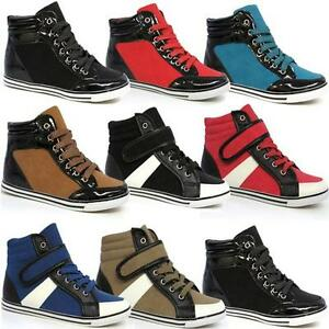 LADIES-ANKLE-BOOTS-GIRLS-WOMENS-HI-HIGH-TOPS-TRAINERS-SPORTS-FLAT-SHOES-SIZE