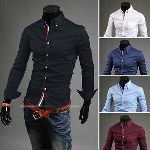 New-Stylish-Mens-Slim-Fit-Casual-Shirt-Shirts-Top-Long-Sleeve-S-M-L-XL-XXL-PS02