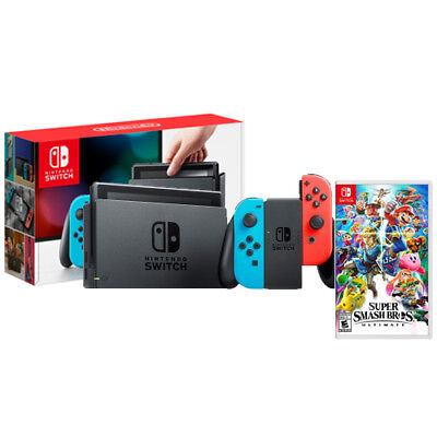 Nintendo Switch with Neon Joy-Con and Super Smash Bros Ultimate