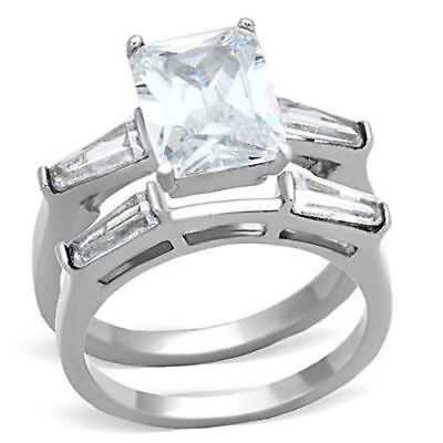 Stainless Steel Ring Set 2 pc Engagement 3.8 CTW Radiant Cut CZ Solitaire Accent