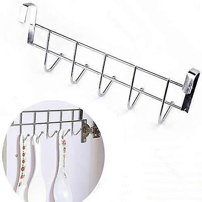 Stainless Steel 5 Hook Over the Door Hanger Clothes Hat Hanging Rack Organizer