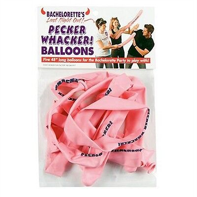 Ladies Night Decorations (5 Pack Bachelorette Party LAST NIGHT OUT PECKER WHACKER BALLOONS)