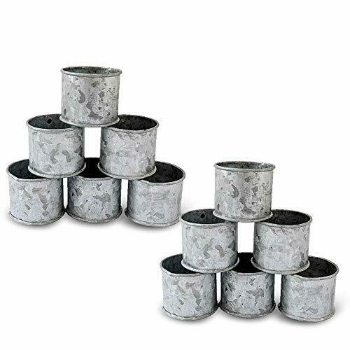 Galvanized Design Rustic Style Metal Napkin Ring for Dinning Table Set Of12
