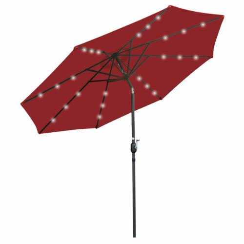 10FT Patio Solar Umbrella LED Patio Market Steel Tilt W/ Crank Outdoor Sun Shade Garden Structures & Shade