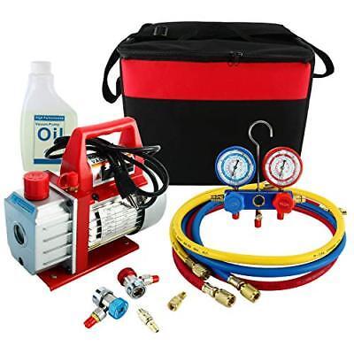 3cfm 14hp Rotary Vane Air Vacuum Pump Hvac Ac Refrigeration Kit Ac Gauge Set