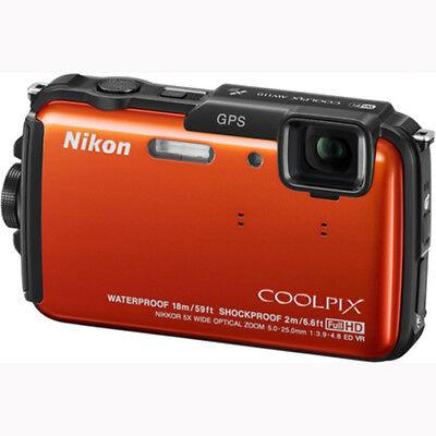 Nikon COOLPIX AW110 Waterproof 16MP Camera w/ WiFi & GPS (Orange) Factory Refurb