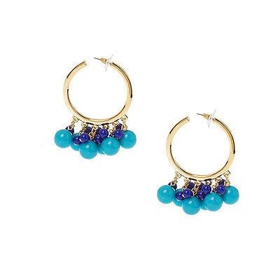 Kenneth Jay Lane Fashion Blue Goldtone Guru Hoop Earrings Pierced QVC