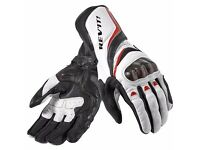 Postage Available *Rev'It Xena *Ladies *Leather Motorcycle Gloves *White Red *Racing *Size Small