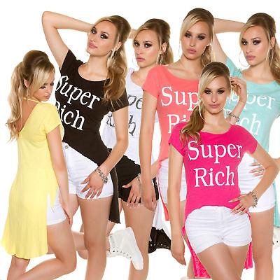 Sexy KouCla HighLow Shirt Oberteil Vokuhila Kurzarm Text Glitzer, OS 34/36/38 online kaufen