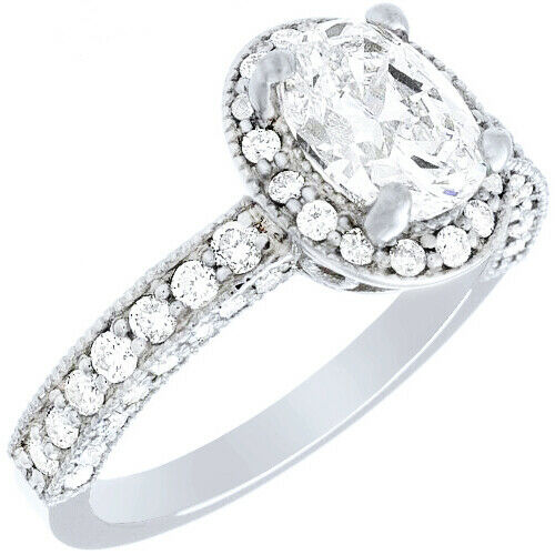 GIA Certified Diamond Engagement Halo Ring 2.41 CTW Oval Shape 18k White Gold 1