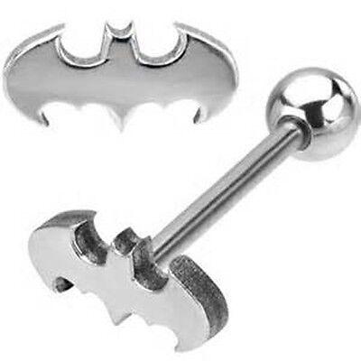 Logo Steel Barbell Tongue Ring - 1 BATMAN BAT 3D LOOK LOGO 316L STAINLESS STEEL BARBELL TONGUE RING 14G 5/8