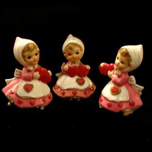 3 Vintage LEFTON VALENTINE GIRLS w Heart Figuines