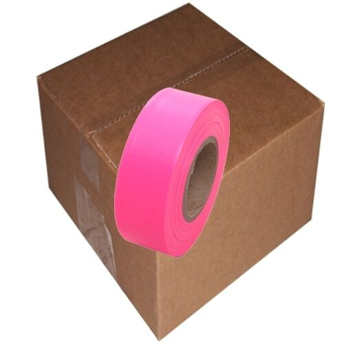 """Fluorescent Pink Flagging Tape 1 3/16"""" x 150 ft Roll Non-Adhesive (12 Roll/Case)"""