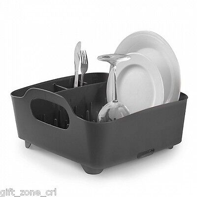 UMBRA TUB DISH RACK - Drainer Tray Washing Up Dishrack Tidy  - Smoke BLACK