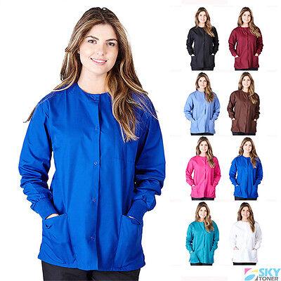 Women's Warm Up Scrubs Jacket Medical Hospital Nursing Uniform Cotton/Polyester