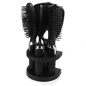 5x Women Ladies Hair Brush Massage Comb Mirror Holder Set With Mirror & Stand FK