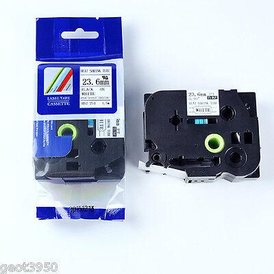 Black On White 24mm Heatshrink Label Tape Compatible Brother Tze Hs2-251 Hs251