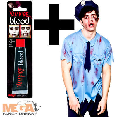 Zombie Cop + Blood Mens Fancy Dress Undead Policeman Halloween Adults Costume - Zombie Policeman Costume