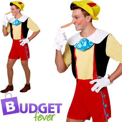 Pinocchio Adults Disney Fancy Dress Fairy Tale Book Week Puppet Mens Costume New