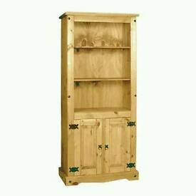Mexican Pine Tall Bookcase With Doors