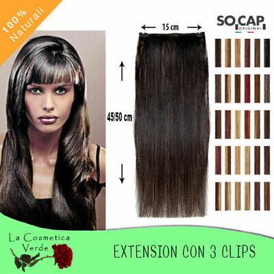 EXTENSION CLIP CAPELLI VERI 45/50 CM 100% NATURALI EASY20 SOCAP HUMAN REMYS HAIR