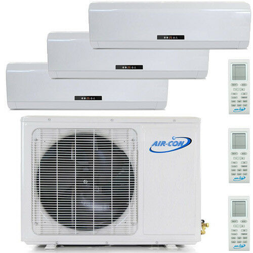 27000 Btu Tri Zone Ductless Mini Split Air Conditioner - Heat Pump: 9000 Btu X 3