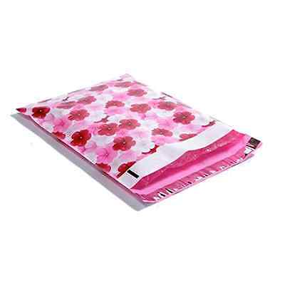 100 10x13 Pink Hibiscus Designer Mailers Poly Shipping Envelopes Boutique Bags
