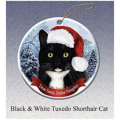 Tuxedo Black and White Cat Howliday Porcelain China Dog Christmas Ornament