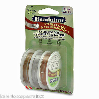 Beadalon 7 Strand Satin Bead Stringing Wire 3 Color Pack .015 10 Ft Each Jewelry