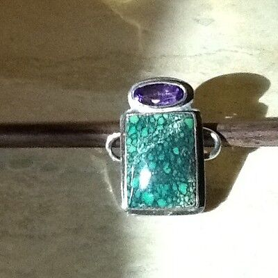 Tabra Sterling Silver Turquoise And Amethyst Charm