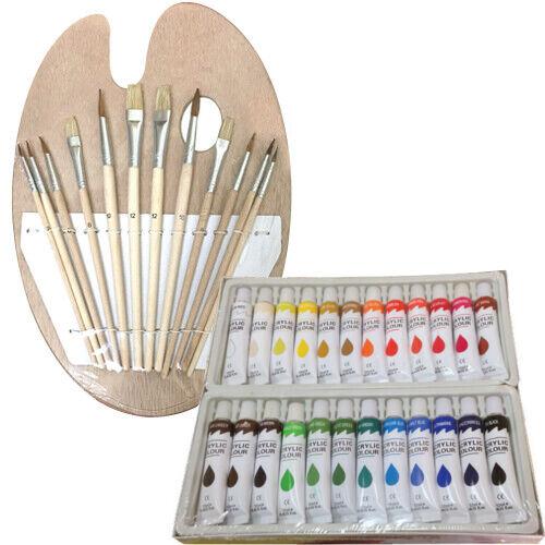 Artist 24 ACRYLIC COLOR Painting Paint Set + 12 Brush Set with Wood Palette SET