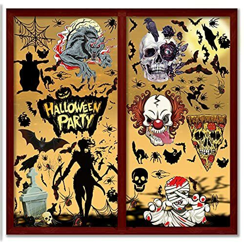 104 Pcs Halloween Window Clings for Glass Window Decals Double-Sided Stickers