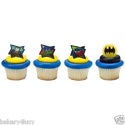 12 BIRTHDAY HERO BOY PARTY FAVORS MOVIE CAKE CUPCAKE RINGS BATMAN POW WHOOSHHH