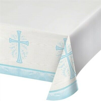 Divinity Blue Plastic Banquet Tablecloth Religious Party Supplies Decorations - Blue Plastic Tablecloth