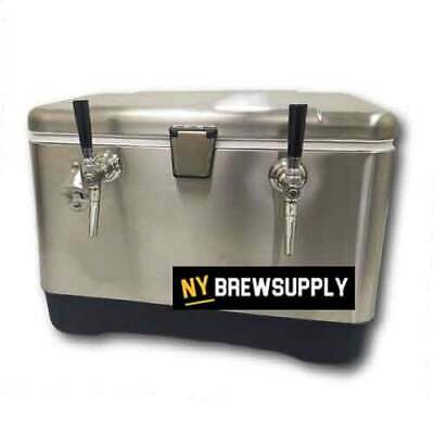 Ny Brew Supply Stainless Steel Jockey Box Cooler - 54 Quart 2 Faucet 75 Coils