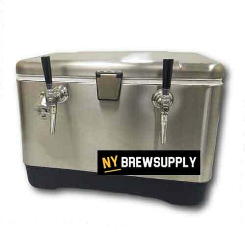 NY Brew Supply Stainless Steel Jockey Box Cooler - 54 Quart, 2 Faucet, 75