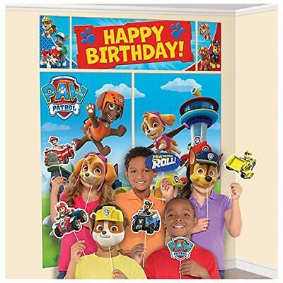PAW PATROL WALL BANNER DECORATING KIT (5pc) Happy Birthday Party Supplies w prop - Paw Patrol Decorations