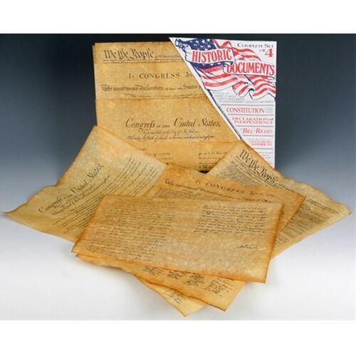 Historic Document Replicas Set of 4 Constitution, Bill of Rights, Declaration GA