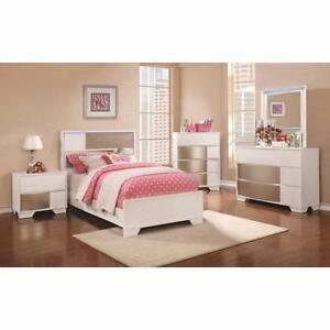 Coaster Contemporary Full or Twin 5 Piece Bedroom set With LED Lighted Headboard
