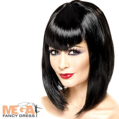 Black Vampire Vamp Wig Vampiress Ladies Halloween Fancy Dress Costume Wig - Vampiress Wigs