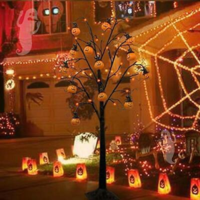 4FT Halloween Decorations Black Spooky Tree, Glittered with 48 LED Orange Light