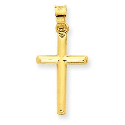 14k Yellow Gold Plain Polished Hollow Cross Charm (14k Hollow Cross Pendant)