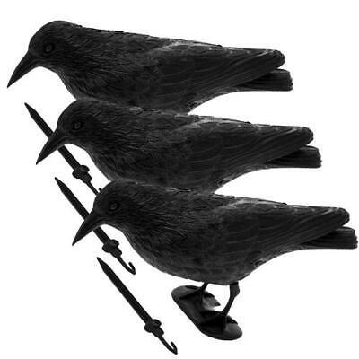 Espantapalomas 3er Pack Cuervo Ahuyentador de Palomas Espantapájaros Señuelo